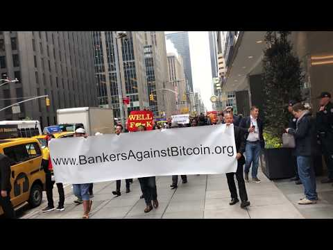 Consensus 2018 // Genesis Mining // Bankers against Bitcoin Protest