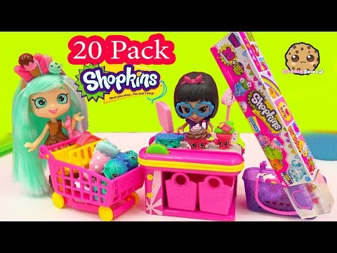 Shoppies Doll Peppa Mint Shops At Small Mart Unboxing 20 MEGA Pack Shopkins Season 4 Petkins Video