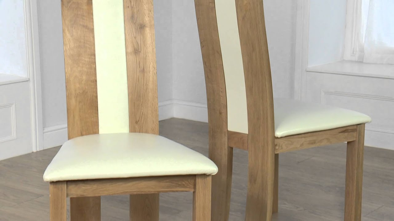 Cream Leather Solid Oak Dining Chair Toronto Chair