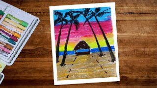 Beach Hut Scenery Drawing With Oil Pastel Step By Step - Pastel Drawing For Beginners