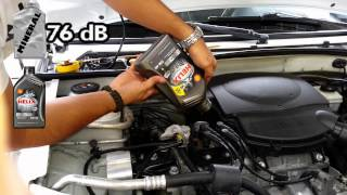 engine sound test mineral 15w 40 vs synthetic oil 5w40 shell helix ultra prueba sonido motor