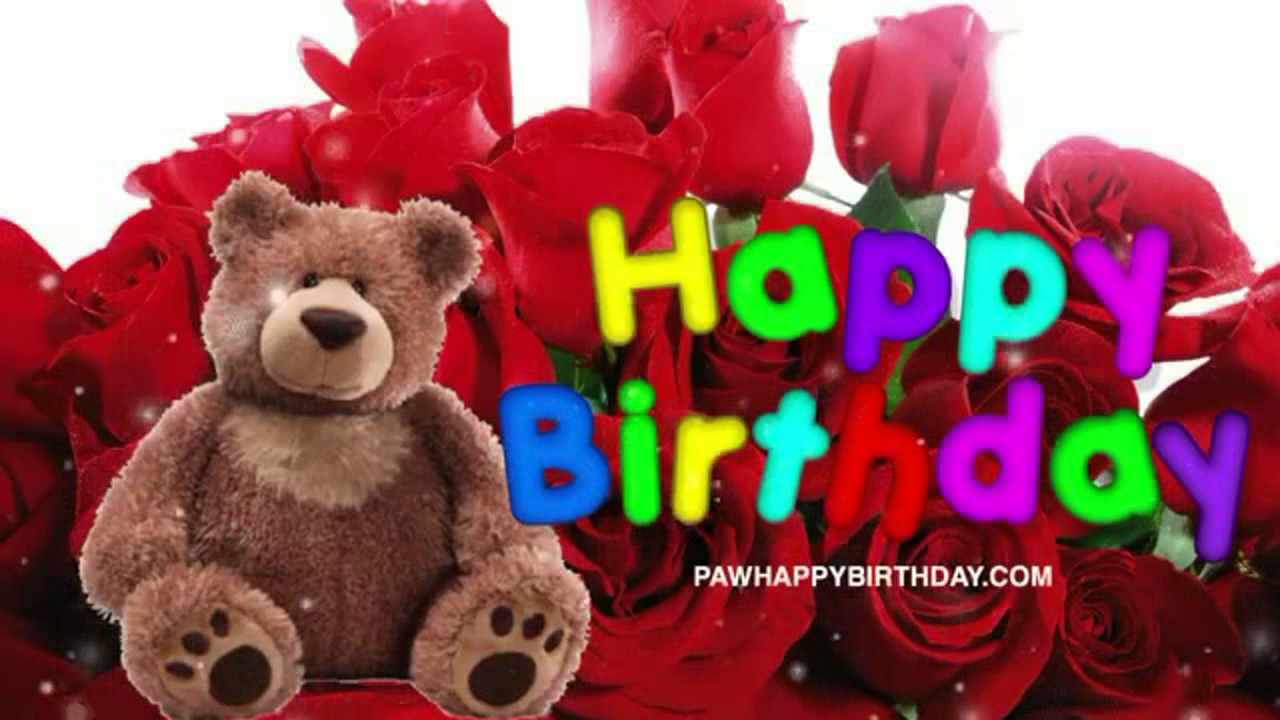 Happy Birthday Teddy Bear With Roses Youtube