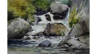 Waterfall landscape painting with watercolors by sikander singh chandigarh