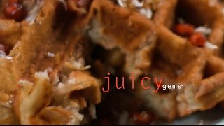Juicy Gems Coconut Waffles with Pomegranate Syrup