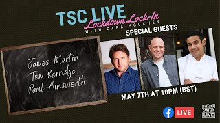 James Martin, Tom Kerridge and Paul Ainsworth in the Lockdown Lock-in with Cara Houchen