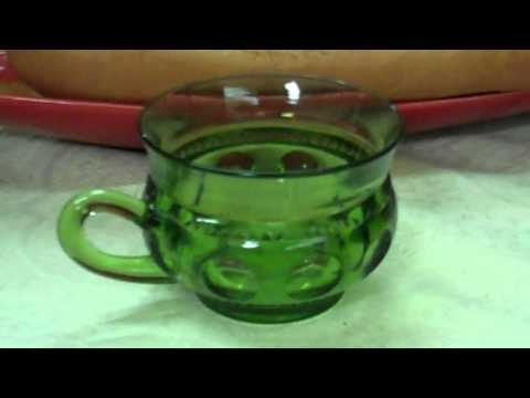 Green Glassware but Not Depression Glass - Kings Crown