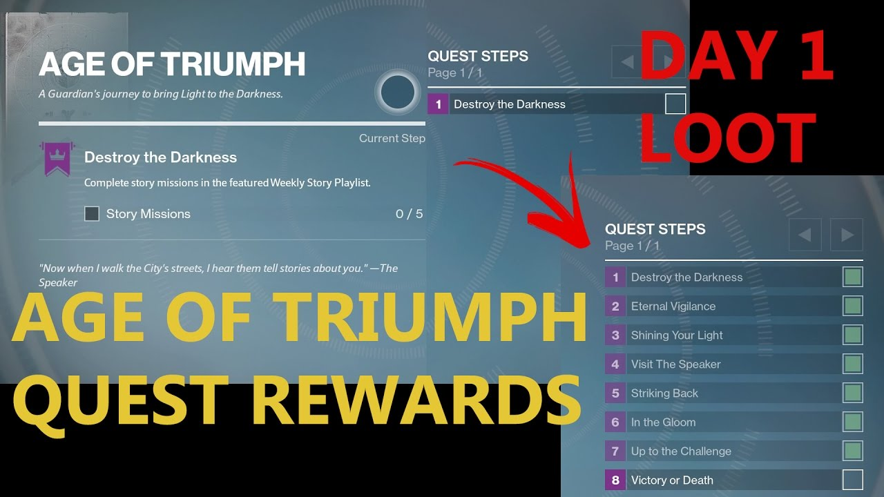 age of triumph quest - destiny day 1 loot - youtube