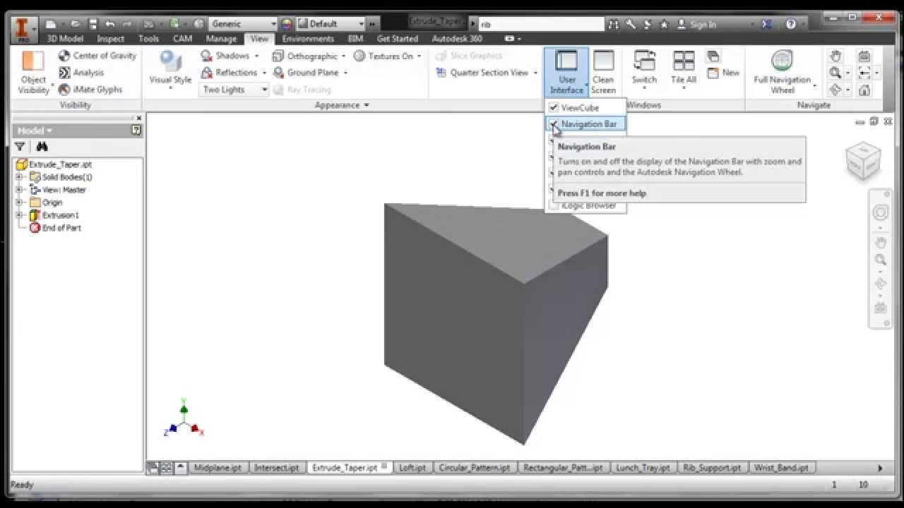 Inventor View Toolbar
