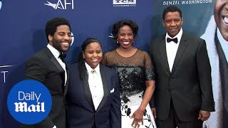 Family man! Denzel Washington is supported by is family at AFI