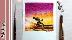 BOHEMIAN RHAPSODY (movie poster) Watercolor Painting - Polaroid Inspired