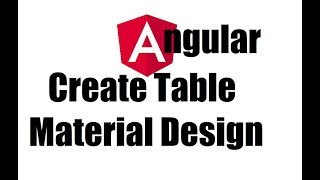 Angular 8 #8; Material Design Table