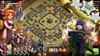 Clash Of Clans | TH9 VALKYRIE ATTACK + LOW LEVEL QUEEN WALK | Square Base | Clan War 2016