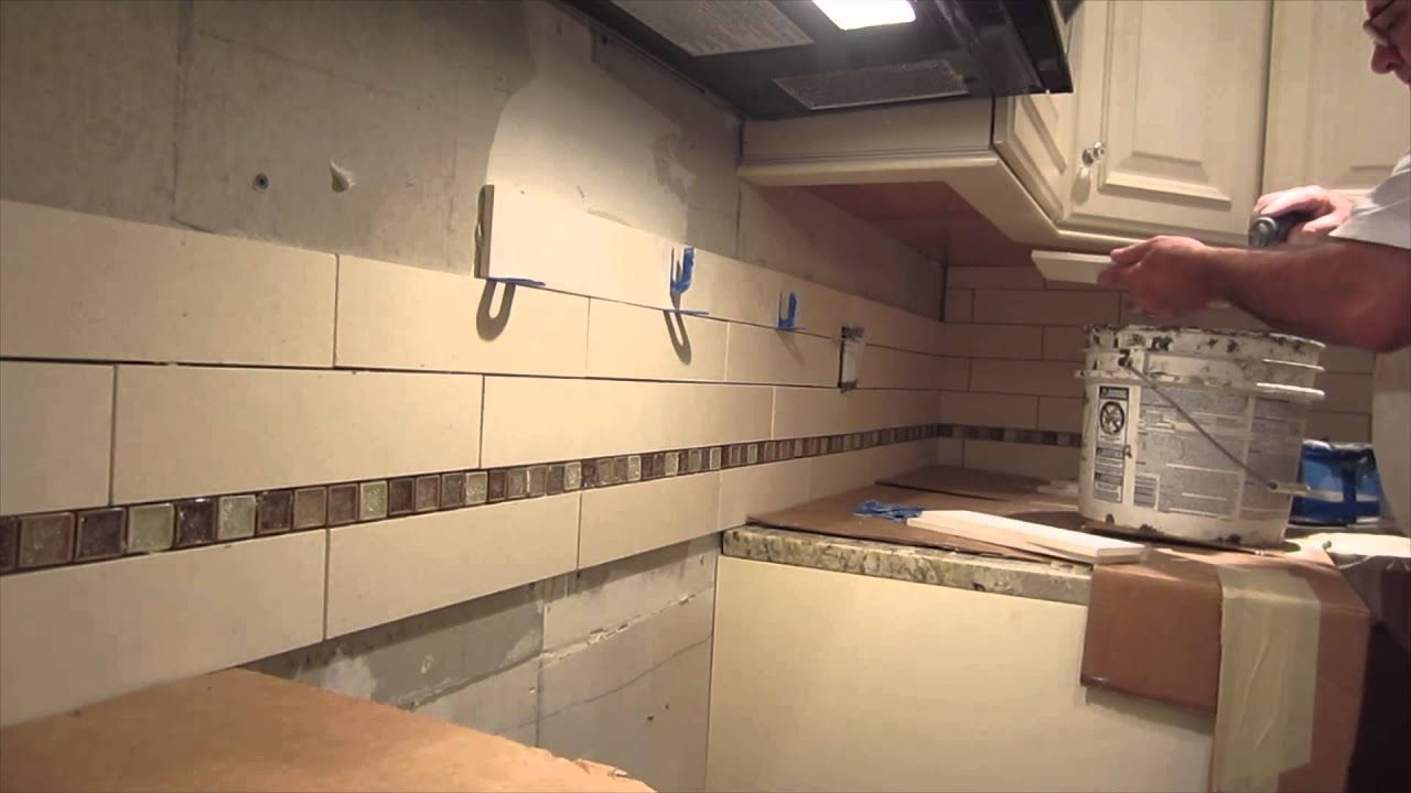 Limestone Sonoma tile kitchen backsplash time lapse - YouTube