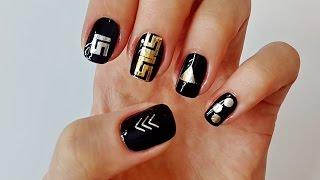 Флеш тату (Flash Tattoo)  на ногти. Черно-золотой маникюр