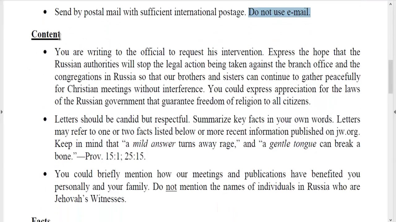 Letters To Russia From Jehovah S Witnesses