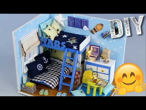 DIY Tiny Blue Star  Bunk Bed Bedroom😍😎😂 || Mini Tiny Exp