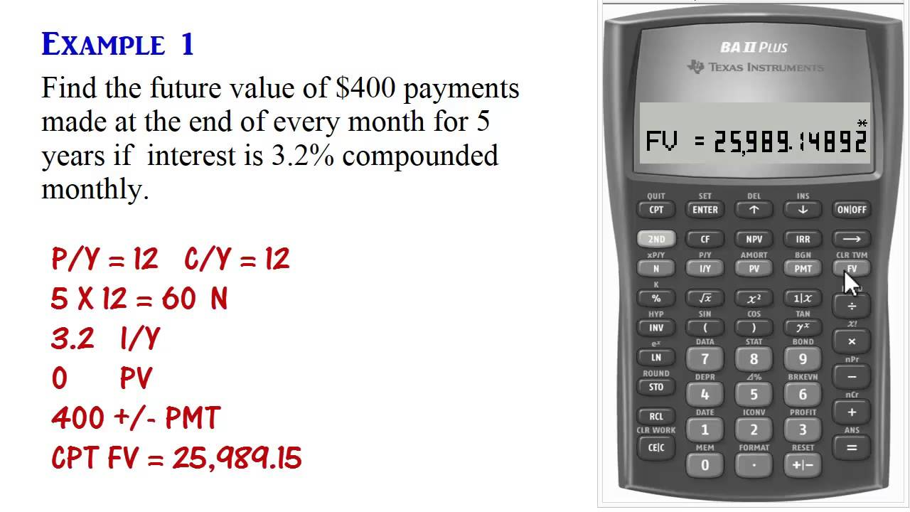 BA II Plus - Ordinary Annuity Calculations (PV, PMT, FV) - YouTube