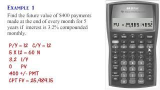 BA II Plus العادية الأقساط الحسابات (PV, PMT, FV)