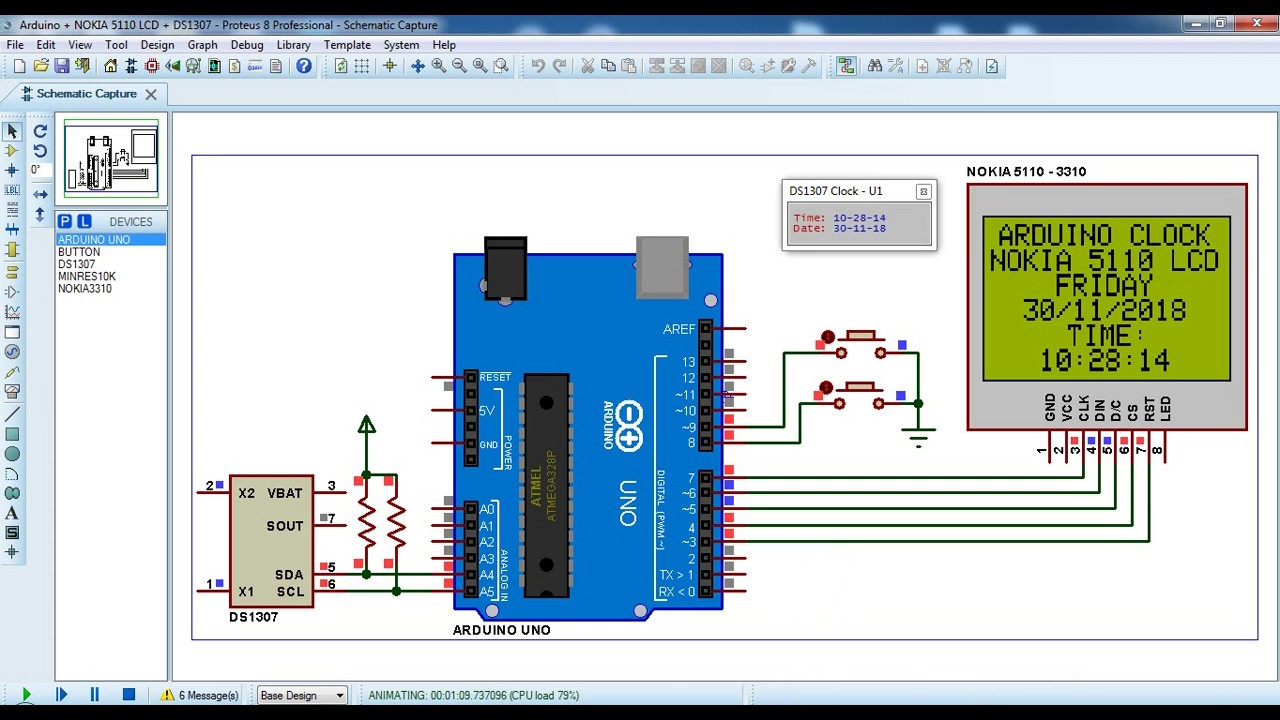 Arduino clock with NOKIA 5110 LCD and DS1307 RTC - Simple Projects