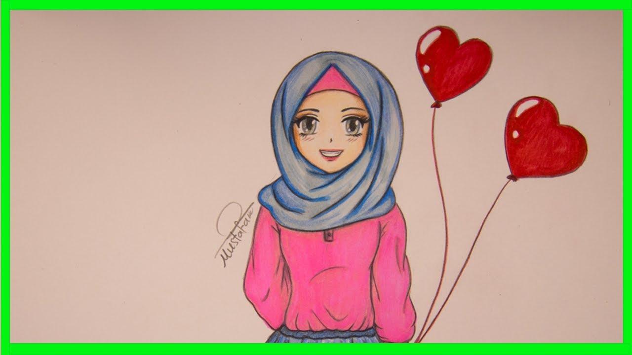 تعليم رسم بنت محجبة للمبتدئين خطوة بخطوة How To Draw Muslim Girl