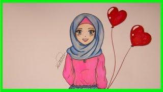 تعليم رسم بنت محجبة للمبتدئين خطوة بخطوة - how to draw muslim girl with hijab