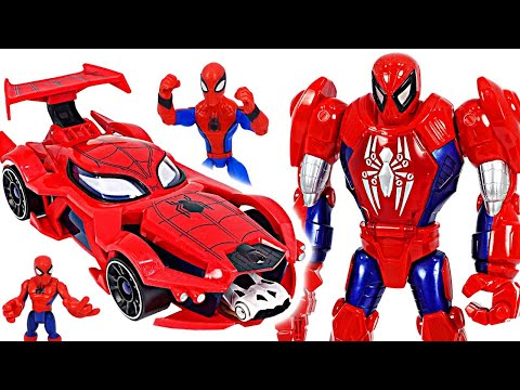 Red Hulk is angry!! Spider-man Web-car launcher and Mech suit armor! Go! | DuDuPopTOY