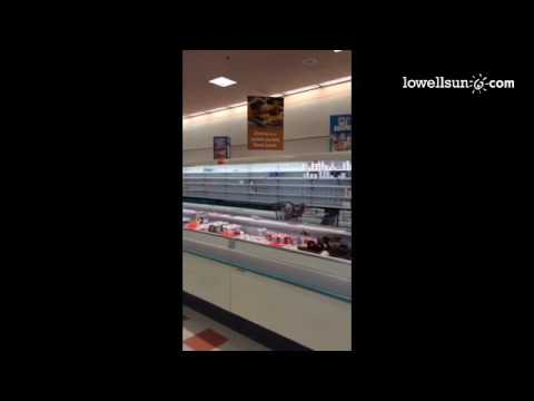 Empty shelves that usually hold yogurt at the Market Basket in Salem, NH Saturday.@lowellsunnews #mb