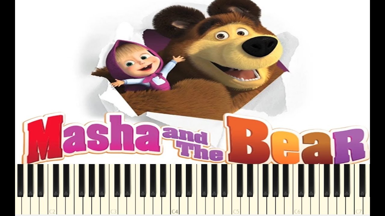 masha and the bear theme song easy piano tutorial. Black Bedroom Furniture Sets. Home Design Ideas