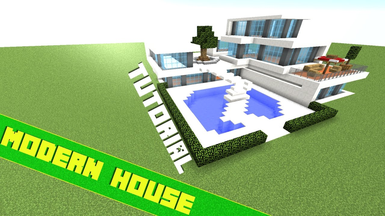 Minecraft how to build a big modern house tutorial youtube for Big modern house tutorial