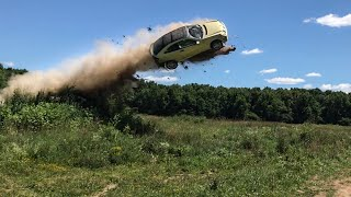 LAUNCHING A MERCEDES OFF A JUMP!!! *TOTAL DESTRUCTION*