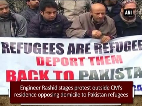 Engineer Rashid stages protest outside CM's residence opposing domicile to Pakistan refugees