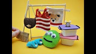 10 DIY Miniatures for Barbie - Tank Top Blouse, Skirt, Handbag, Cushion, Clock, Storage Box etc