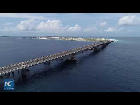 Built by Chinese: Aerial view of China-Maldives Friendship Bridge
