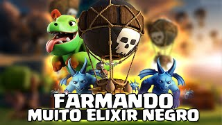 FARMANDO MUITO ELIXIR NEGRO COM BALLOONION E BABY DRAGON - Cv9 / Th9 - CLASH OF CLANS