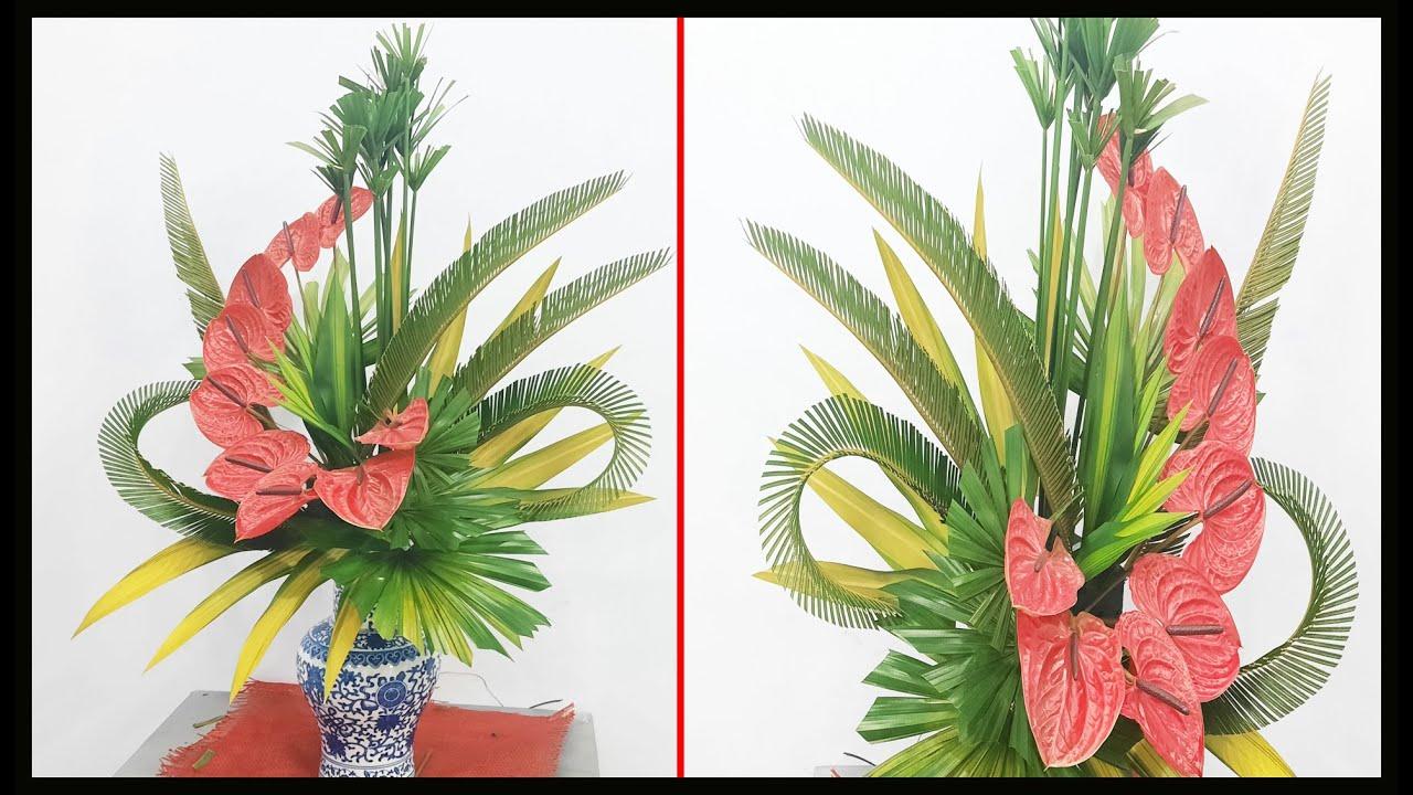 Hướng dẫn cắm hoa bàn thờ | Bình Hoa Môn kết hợp Thủy Trúc | Mẫu cắm hoa đẹp