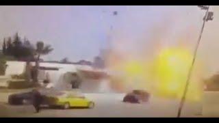 لحظة التفجير الإرهابي امام السفارة الأمريكية بالبحيرة