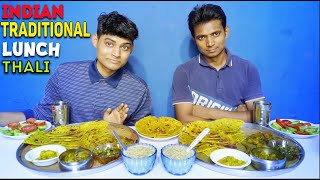 Indian traditional Lunch Thali Eating Challenge | Veg Traditional  Food Thali | Big thali Challenge