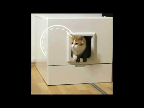 TechKLO Selbstreinigende Katzentoilette aus Holz