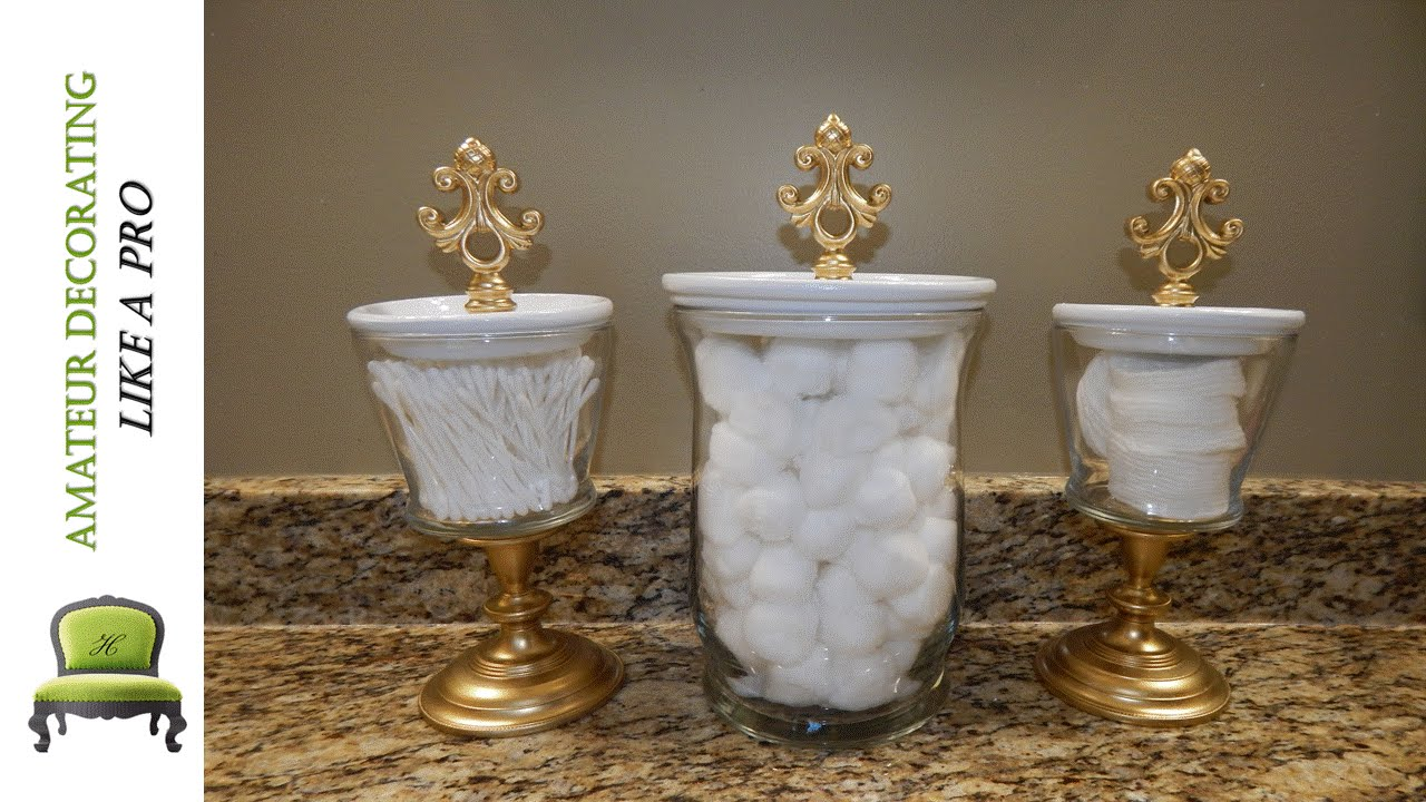 Diy bathroom canisters using dollar tree dollar general for Bathroom decor vases