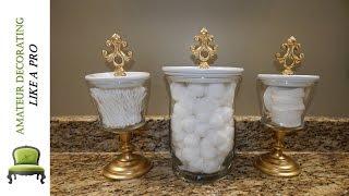 DIY Bathroom Canisters Using Dollar Tree & Dollar General Vases