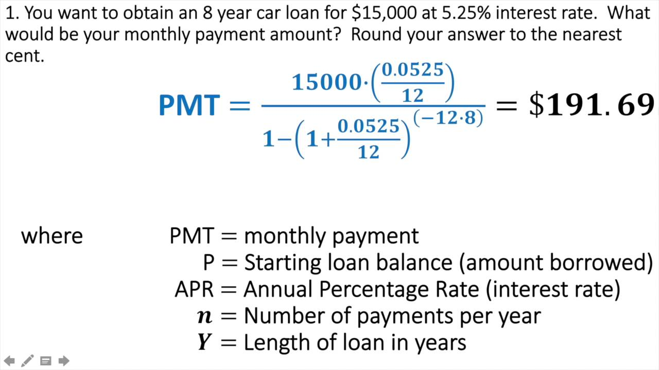 loan payment interest formula