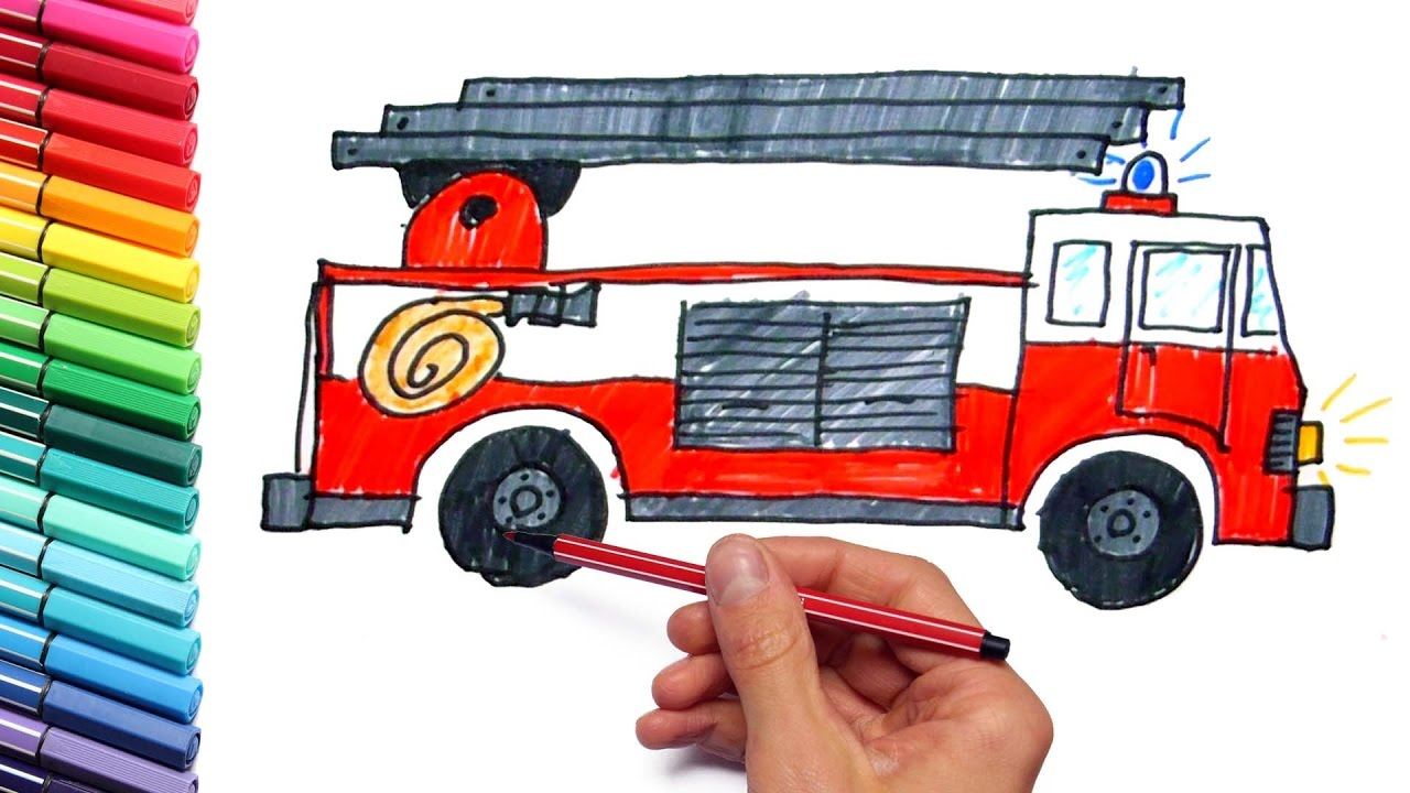how to draw fire truck with colored markers emergency vehicles drawing and coloring for kids