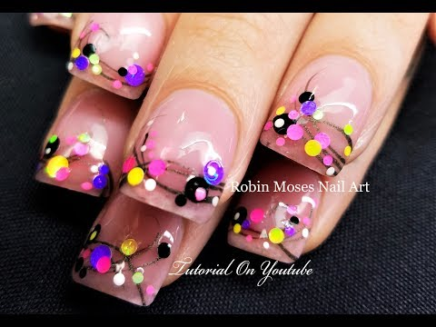 Candy Confetti Polka Dots on French Pink Nails | Easy Nail Art Dotticure Tutorial