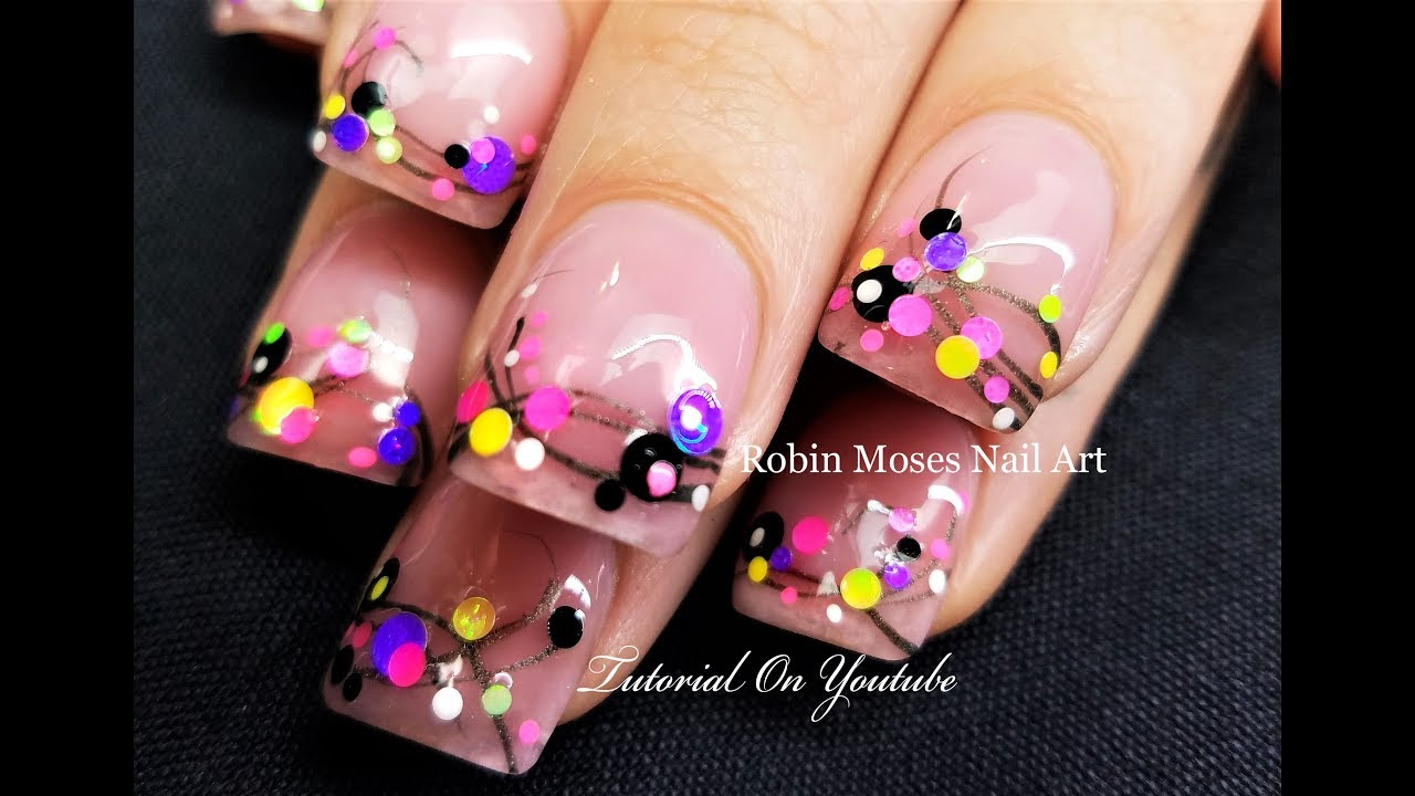 Candy Confetti Polka Dots on French Pink Nails | Easy Nail ...