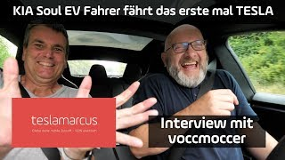 KIA Soul EV Fahrer fährt das erste mal TESLA Model S - Interview mit voccmoccer