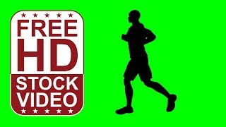 FREE HD video backgrounds – athlete man silhouette running, jogging on green screen seamless loop