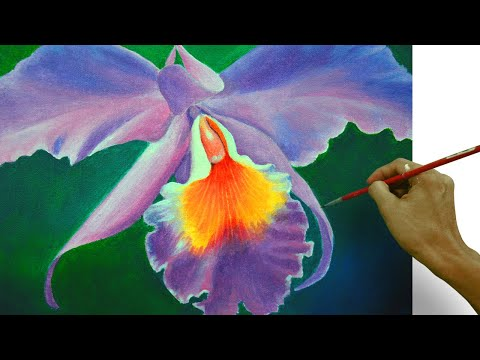 How to Paint an Orchid Flower in Acrylic Full Painting Tutorial by JM Lisondra