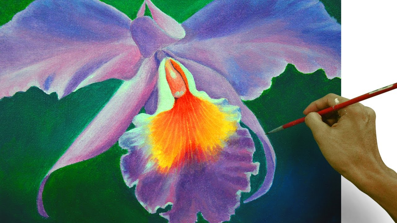 How to paint an orchid flower in easy step by step acrylic for Painting flowers in acrylic step by step