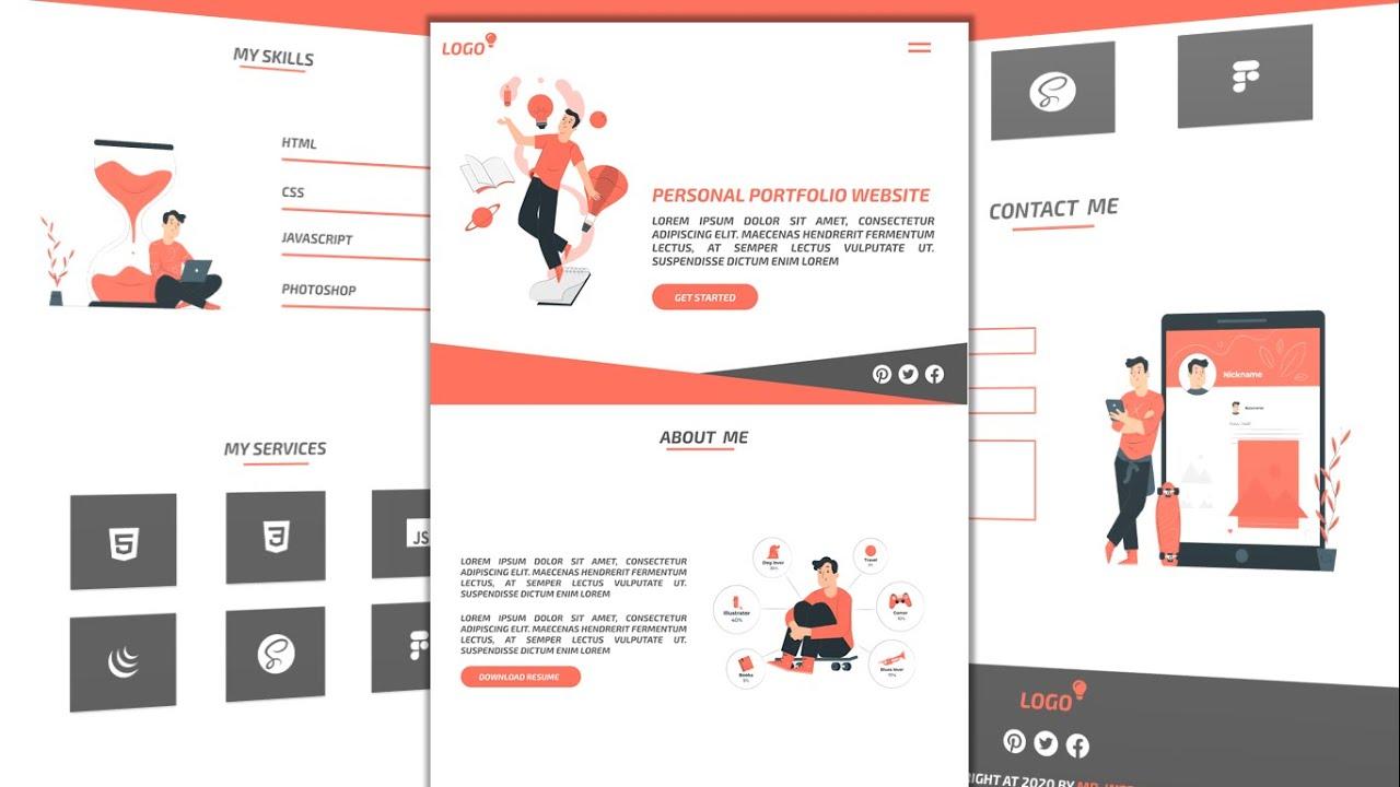 Personal Portfolio Website Tutorial For Beginners Using HTML/CSS/JS