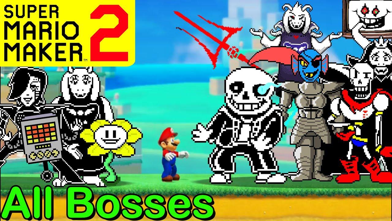 Mario Maker 2 - ALL UNDERTALE BOSSES (Super Mario Maker 2 Boss Battles)(Sans, Papyrus, Omega Flowey)